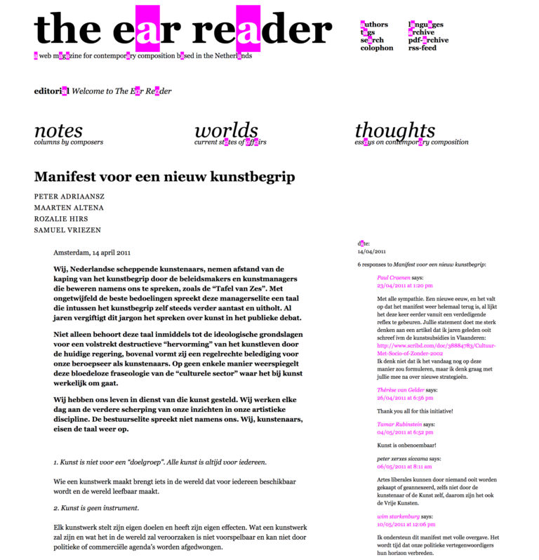 manifesto for the arts, the ear reader, the netherlands