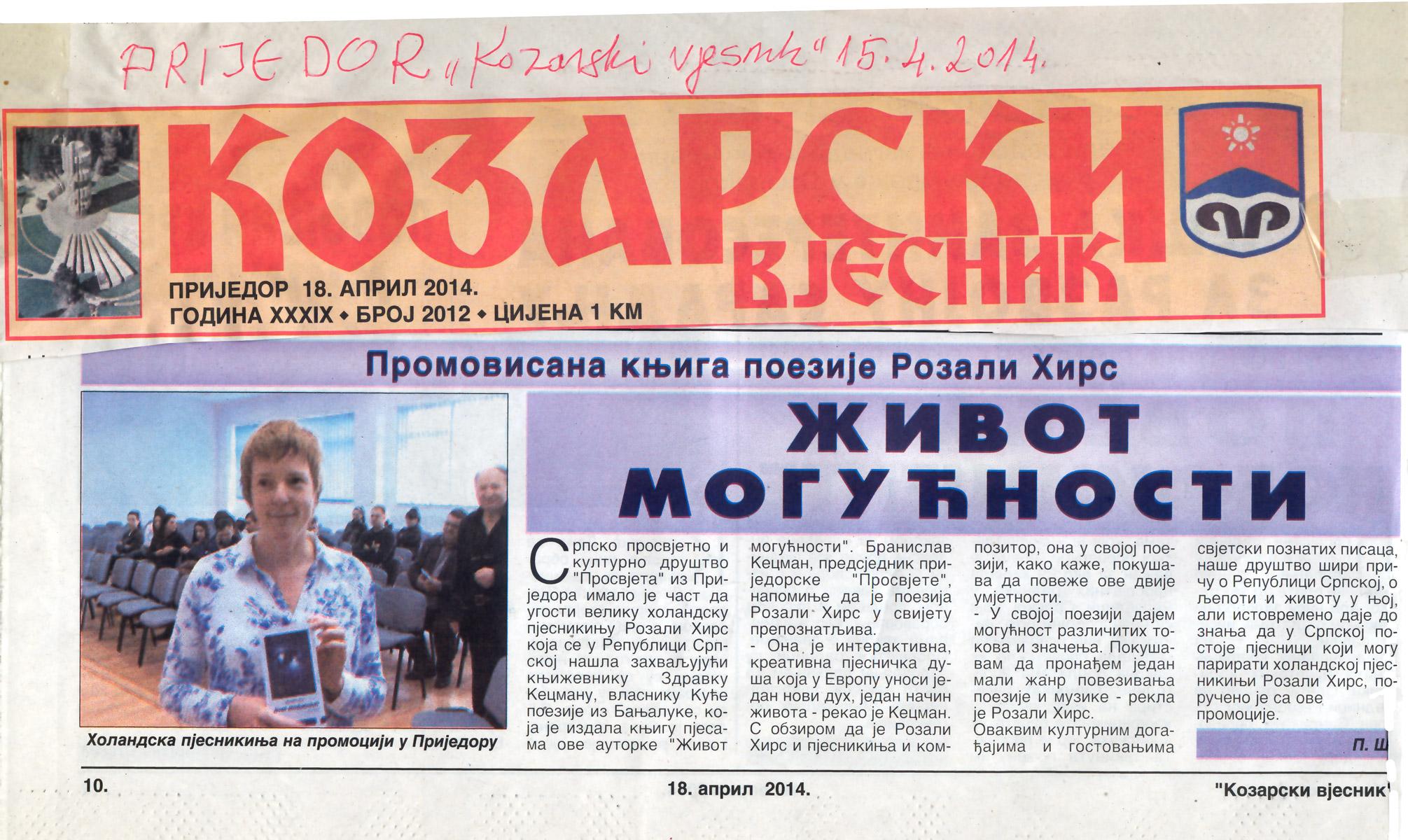 140415-Bosnie-krant-kozarski vijesnik