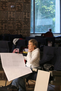 Rozalie Hirs (©2008 Co Broerse) attending a rehearsal of 'Roseherte' (2008) with Netherlands Radio Philharmonic Orchestra and Micha Hamel (conductor), 5 November 2008, Hilversum