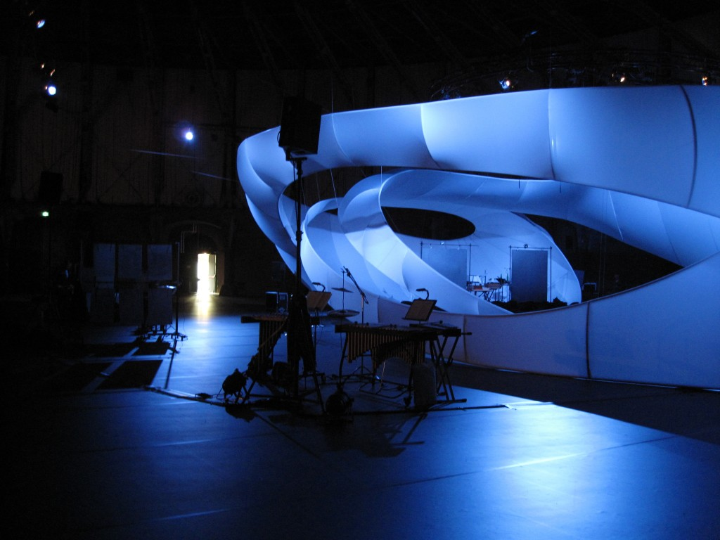 Zaha Hadid's Bach Pavilion; Rozalie Hirs's percussion set up for her composition 'Venus' (2010), Holland Festival, Amsterdam