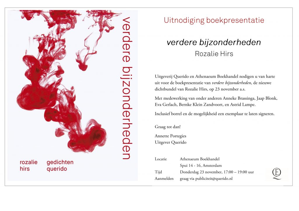Rozalie hirs news here is the invitation to the booklaunch of verdere bijzonderheden by rozalie hirs sent out today by annette portegies publisher of querido and athenaeum stopboris Image collections