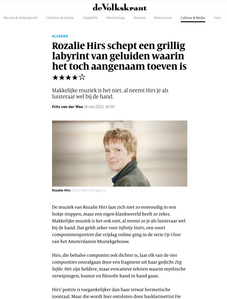 rozalie hirs creates a fanciful labyrinth of sounds – ★★★★ review volkskrant